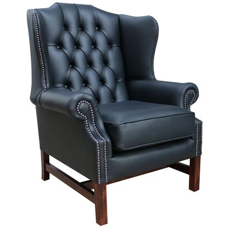 Chesterfield Georgian High Back Wing Chair Black Leather
