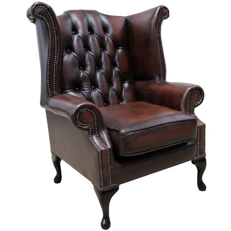 Chesterfield Georgian Queen Anne Wing Chair Antique Brown Leather