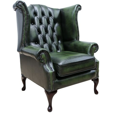 Chesterfield Georgian Queen Anne Wing Chair Antique Green Leather