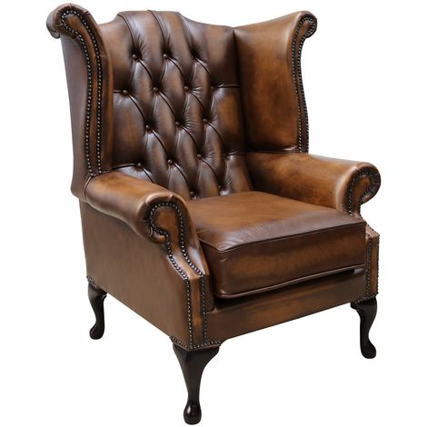Chesterfield Georgian Queen Anne Wing Chair Antique Tan Leather