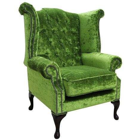 Chesterfield Green Velvet Wing Chair