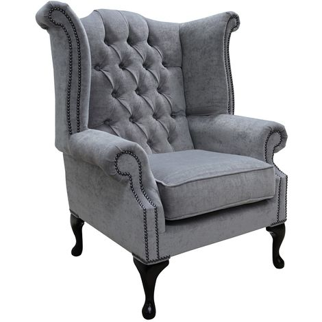 Chesterfield Grey Fabric Wing Chair