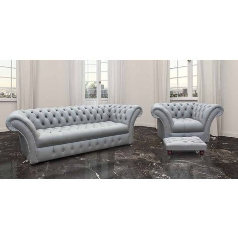 Chesterfield Grosvenor 3 Seater + Armchair + Footstool Sofa Settee Buttoned Seat Silver Grey Leather