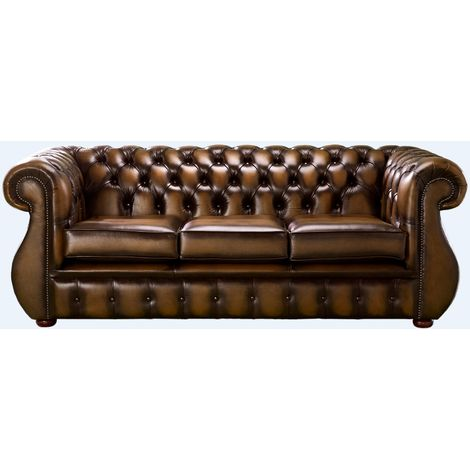 Chesterfield Kimberley Antique Autumn Tan Leather 3 Seater Sofa Offer
