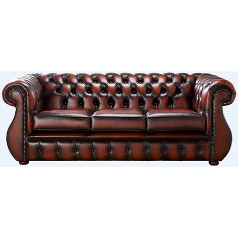Chesterfield Kimberley Antique Light Rust Leather 3 Seater Sofa Offer