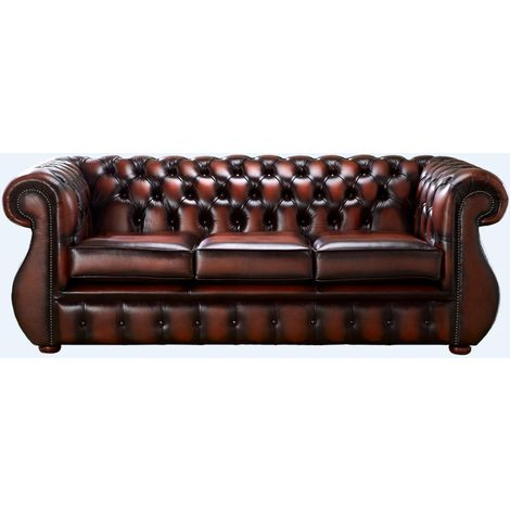 Chesterfield Kimberley Antique Rust Leather 3 Seater Sofa Offer