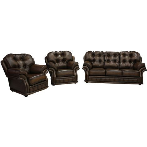 Chesterfield Knightsbridge 3+1+1 Seater Settee Traditional Sofa Suite Antique Tan leather