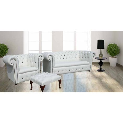 Chesterfield leather sofa buttoned 3+ Club chair + Footstool Suite White Leather |Designer Sofas 4U