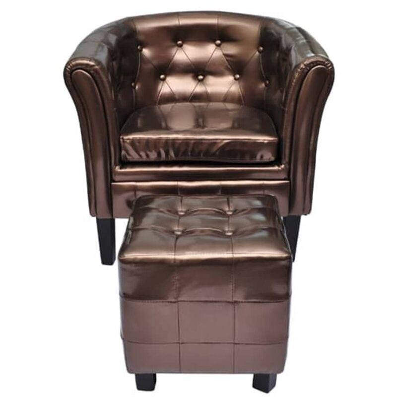 Sessel mit Fußhocker Kunstleder Braun - VIDAXL