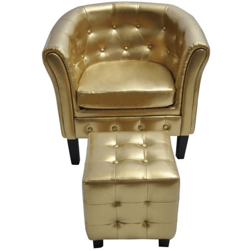 Sessel mit Fußhocker Kunstleder Golden - VIDAXL