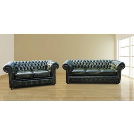 Chesterfield London 3+2 Leather Sofa Suite Offer Antique Green