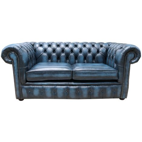 Chesterfield Loveseat Antique Blue Leather Sofa