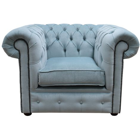 Chesterfield Low Back Club ArmChair Velluto Duck Egg Blue Fabric