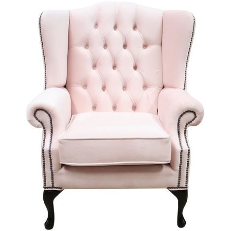 Chesterfield Mallory High Back Wing Chair Passion Powder Pink Velvet