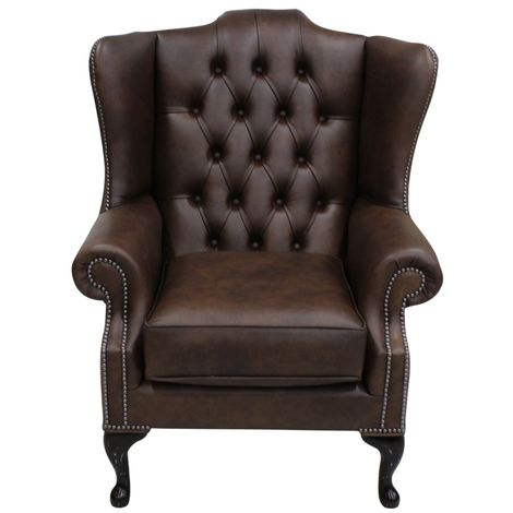 Chesterfield Mallory High Back Wing Chair Washington Chestnut Leather
