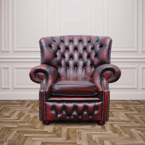 Chesterfield Monks High Back Wing Chair Antique Oxblood UK Manufactured Armchair