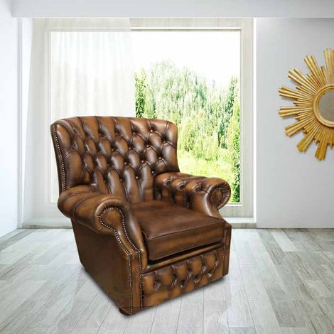 Chesterfield Monks High Back Wing Chair Antique Tan UK Manufactured Armchair