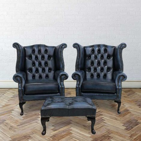 Chesterfield Offer Pair Queen Anne High Back Wing Chair Footstool Antique Blue Leather