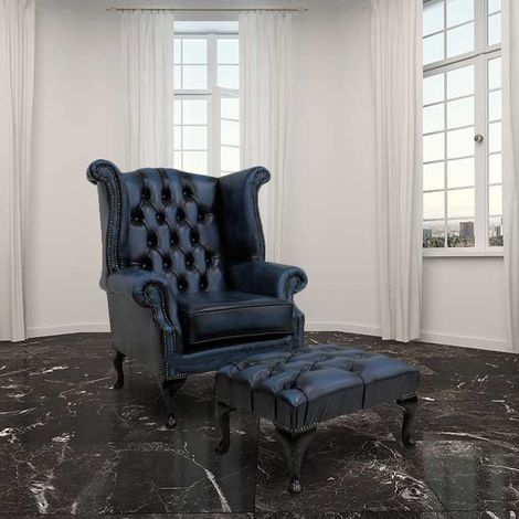 Chesterfield Offer Queen Anne High Back Wing Chair Antique Blue Leather Footstool