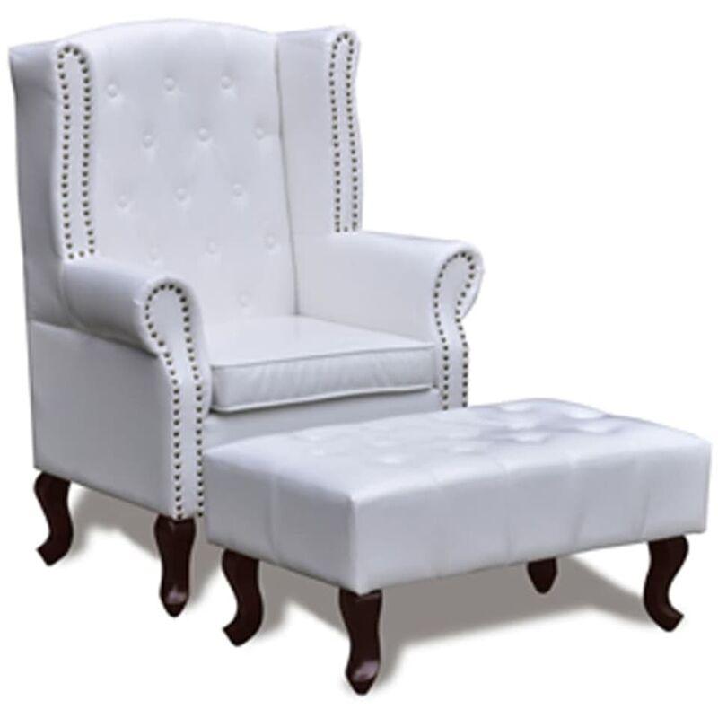 Sessel mit Fußhocker Kunstleder Weiß - VIDAXL