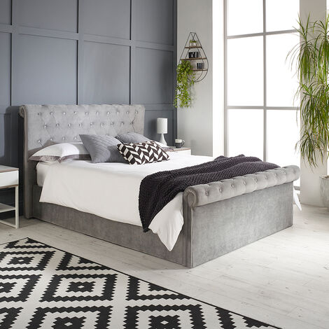 Chesterfield Ottoman Storage Bed Grey
