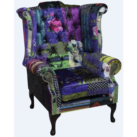 Chesterfield Patchwork Velvet Queen Anne London Multi Wing Chair