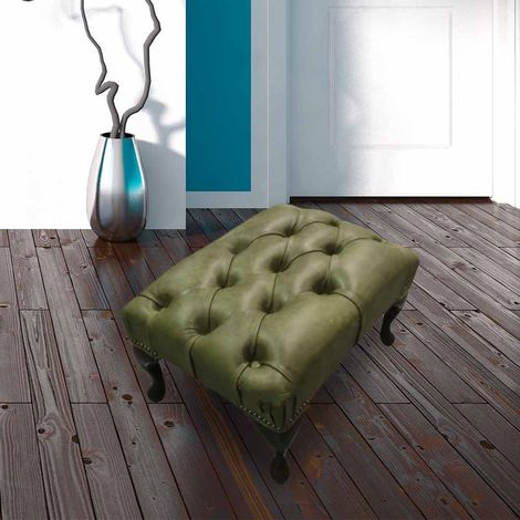 Chesterfield Queen Anne Footstool Selvaggio Sage Green Laether