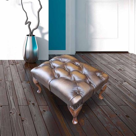 Chesterfield Queen Anne Footstool UK Manufactured Antique Gold