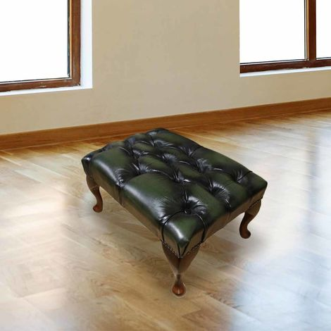 Chesterfield Queen Anne Footstool UK Manufactured Antique Green