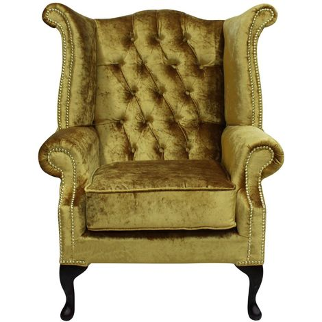 """main image of """"Chesterfield Queen Anne High Back Wing Chair Boutique Gold Velvet"""""""