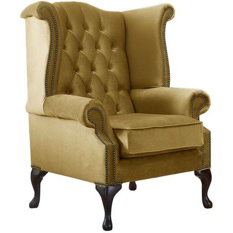 Chesterfield Queen Anne High Back Wing Chair Malta Gold Velvet Fabric