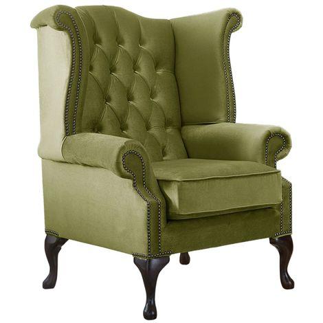 Chesterfield Queen Anne High Back Wing Chair Malta Grass Green Velvet Fabric