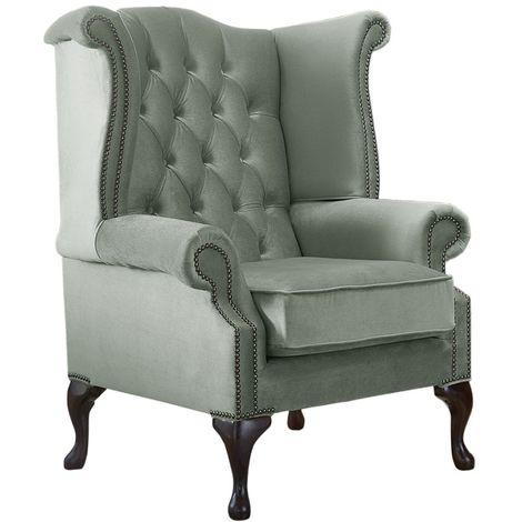 Chesterfield Queen Anne High Back Wing Chair Malta Seaspray Blue Velvet Fabric