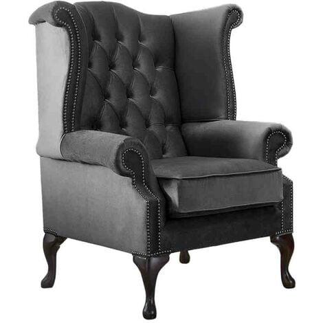 Chesterfield Queen Anne High Back Wing Chair Malta Slate Grey Velvet Fabric