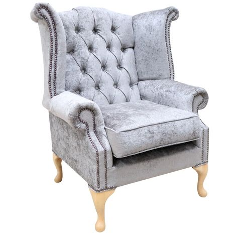 Chesterfield Queen Anne High Back Wing Chair Nuovo Ash Grey Fabric
