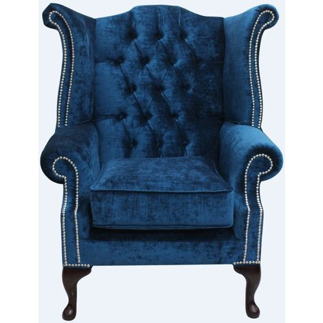 Chesterfield Queen Anne High Back Wing Chair Pastiche Petrol Blue Velvet