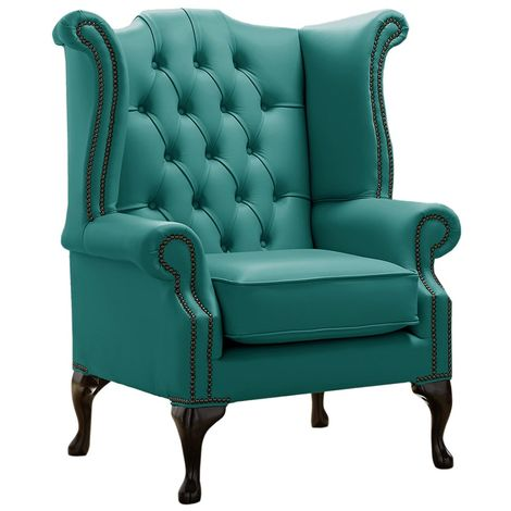 Chesterfield Queen Anne High Back Wing Chair Shelly Dark Teal Leather