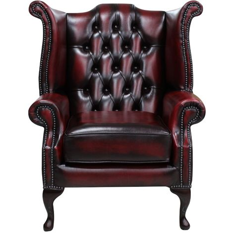 Chesterfield Queen Anne Wing Chair Antique Oxblood Leather