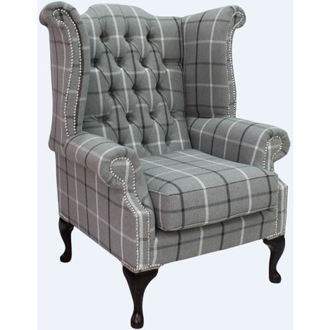 Chesterfield Queen Anne Wing Chair High Back Armchair Piazza Square Check Slate Fabric
