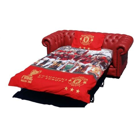 Chesterfield Red Leather Manchester United Sofabed UK Manufactured