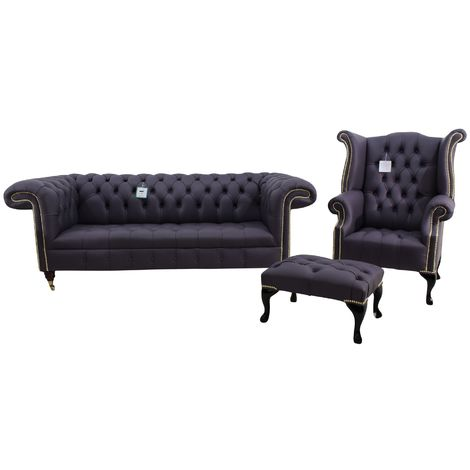 Chesterfield Regency Suite 3 Seater Sofa + Queen Anne Wing Chair + Footstool Amethyst Purple Leather