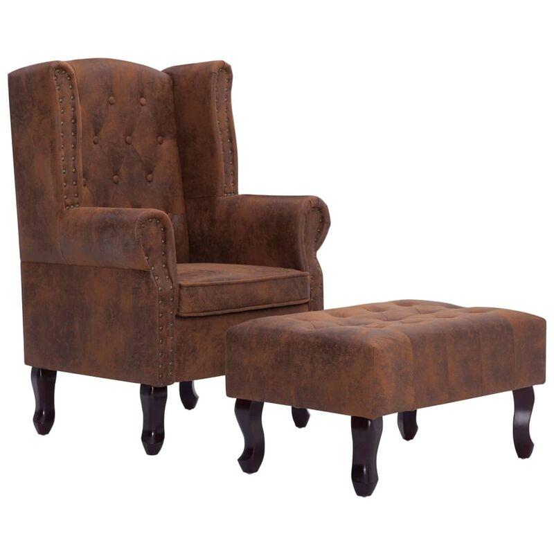 Chesterfield-Sessel und Fußhocker Braun Wildleder-Optik - VIDAXL