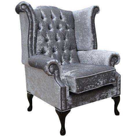 Chesterfield Silver Velvet Queen Anne Chair