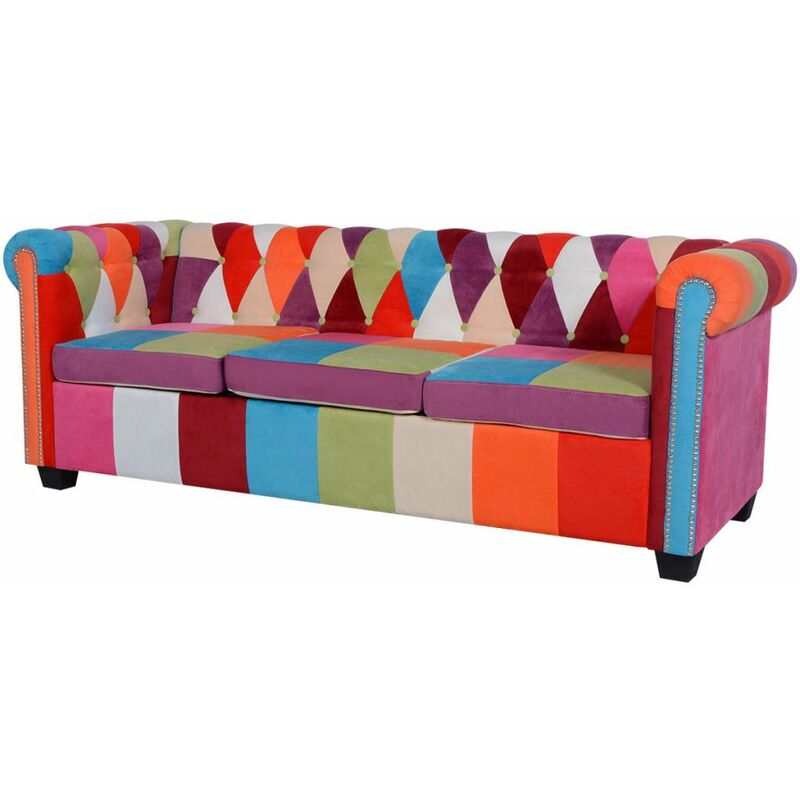 Chesterfield Sofa 3-Sitzer Stoff - ZQYRLAR