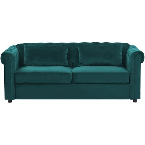 Chesterfield Sofa Bed Fold Out Button Tufted 3 Seater Velvet Green Chesterfield