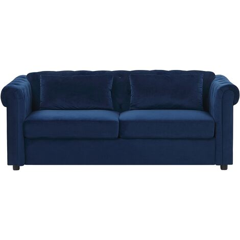 Chesterfield Sofa Bed Pull Out Button Tufted 3 Seater Cobalt Blue Chesterfield