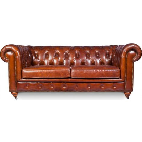 Chesterfield Sofa Churchill Lounge - 2 Places - Premium Leather Vintage brown