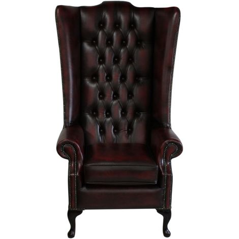 Chesterfield Soho Leather High Back Wing Chair Antique Oxblood
