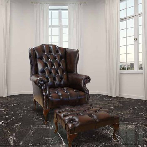 Chesterfield Stirling Buttoned Seat Flat Wing High Back Wing Armchair + Matching Footstool UK Manufactured Antique Brown