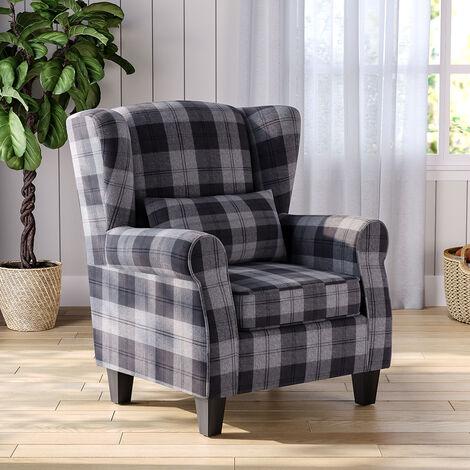 Chesterfield Tartan High Back Armchair With Pillow, Beige